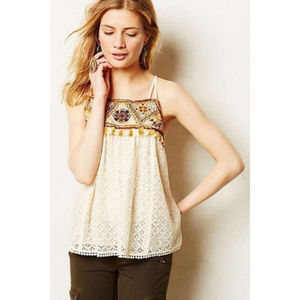 sz 8 Anthropologie HD in Paris Embroidered Blouse